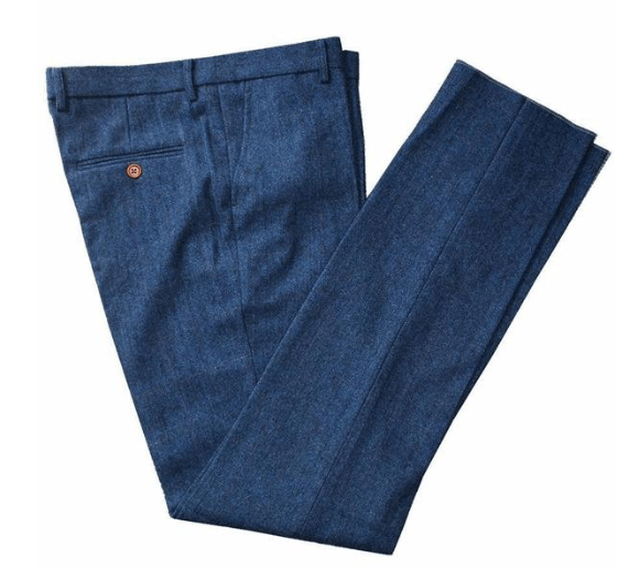 Blue Herringbone Tweed Trousers USA Clearance