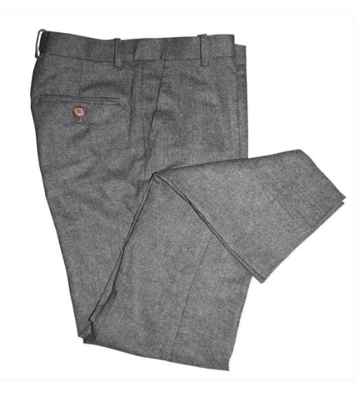 Grey Classic Tweed Trousers USA Clearance