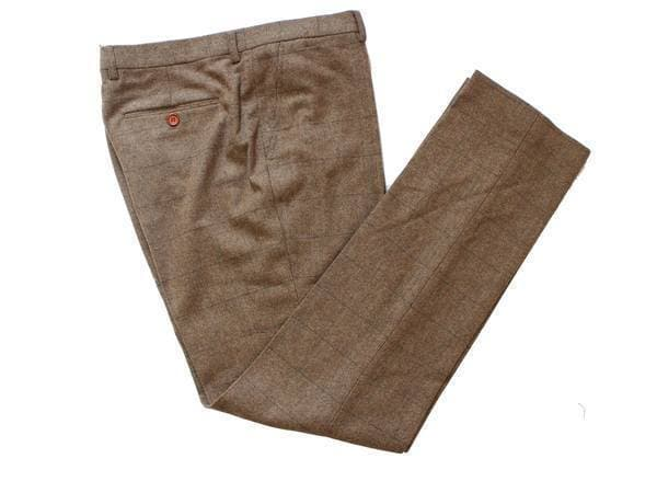 Light Brown Herringbone Tweed Trousers USA Clearance