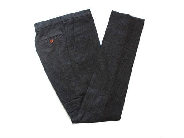 Dark Grey Herringbone Tweed Trousers USA Clearance