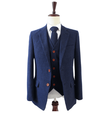Navy Blue Herringbone Tweed Jacket Clearance