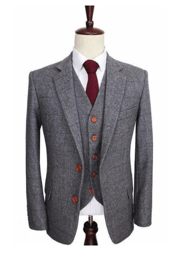 Prince Of Wales Grey Herringbone Tweed Jacket Only Clearance