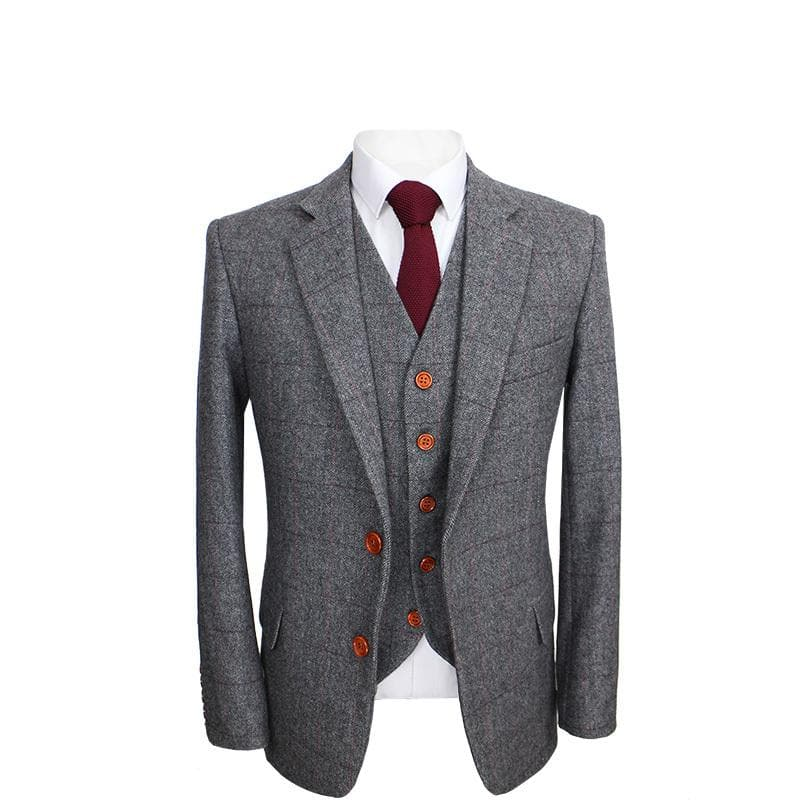 Prince Of Wales Grey Herringbone Tweed Jacket & Waistcoat Clearance