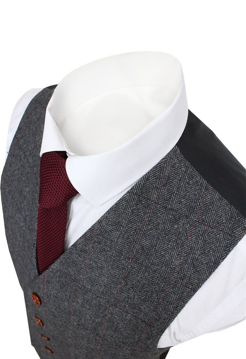Prince Of Wales Grey Herringbone Tweed Waistcoat Only Clearance