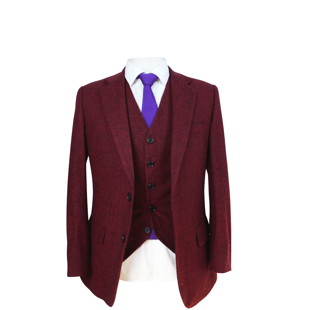 Red Classic Tweed 3 Piece Suit
