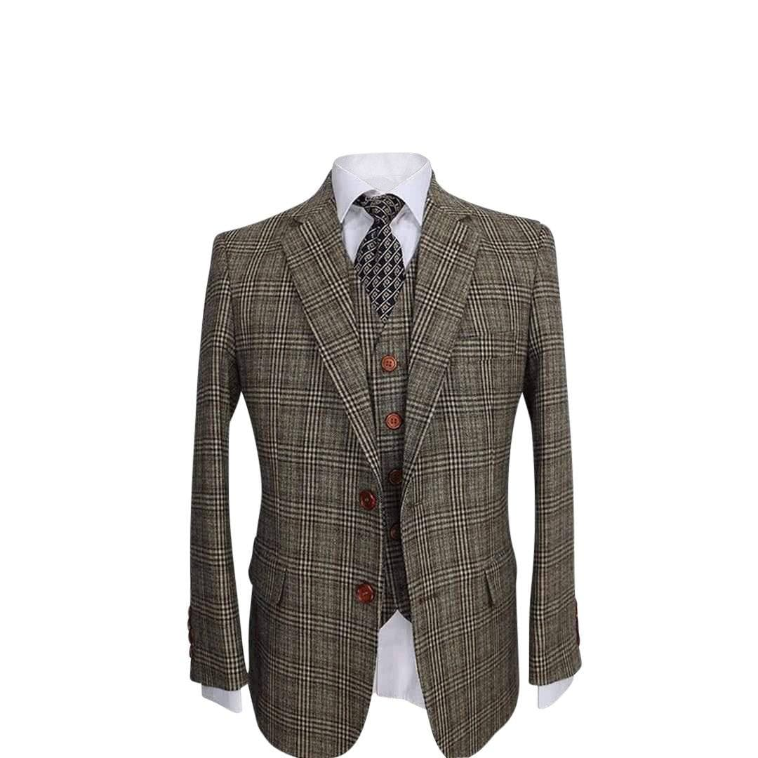 Retro Plaid Tweed 3 Piece Suit