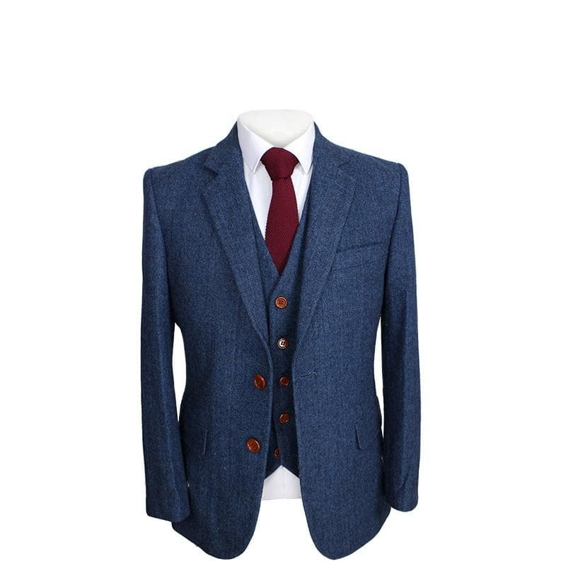 Blue Herringbone Tweed Jacket & Waistcoat USA Clearance