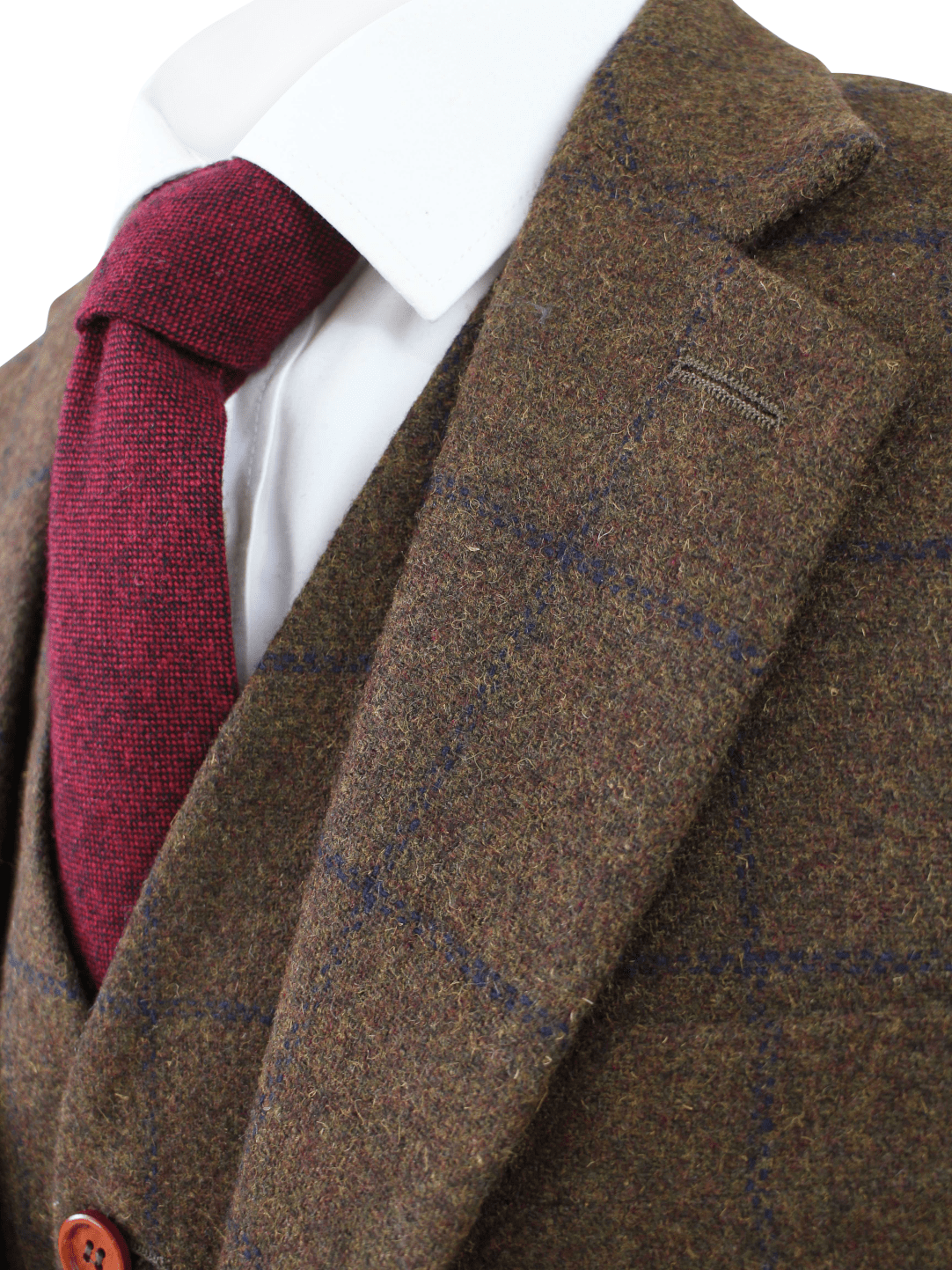 Brown Check Tweed 3 Piece Suit