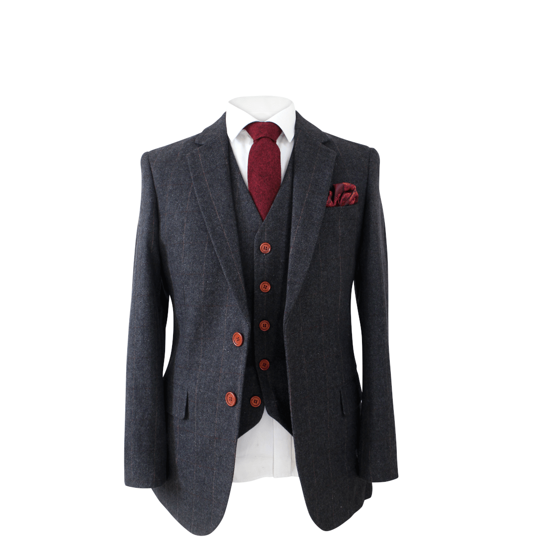 Dark Grey Herringbone Tweed Jacket & Waistcoat USA Clearance