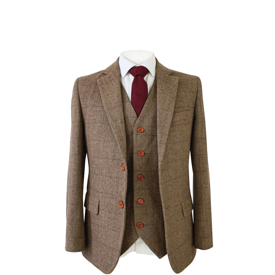 Light Brown Herringbone Tweed Waistcoat Only Clearance
