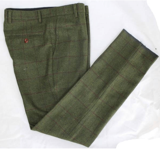 Olive Green Check Tweed Trousers USA Clearance