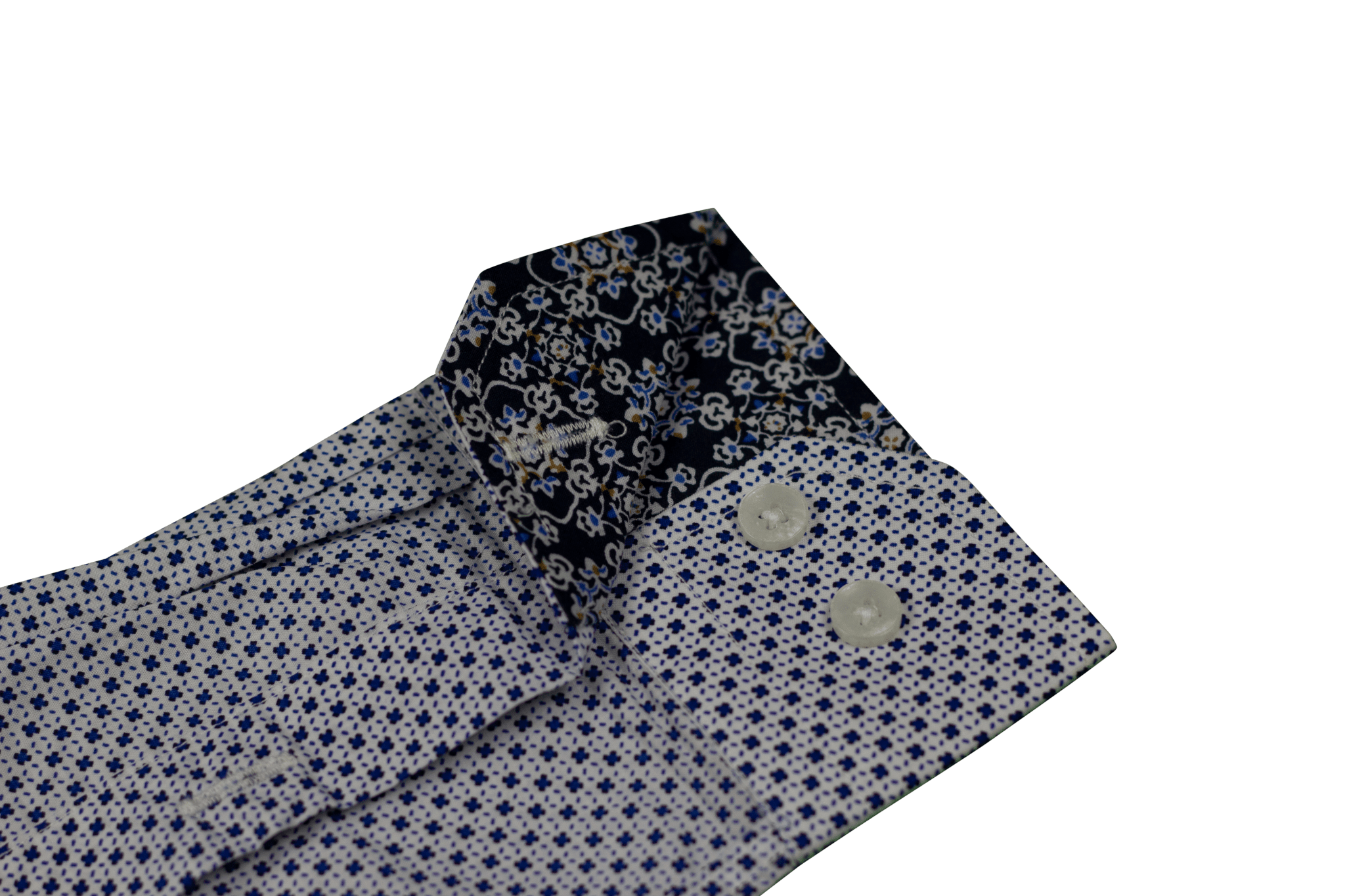 Custom Tailored Pattern Detailed Trim Dress Shirt