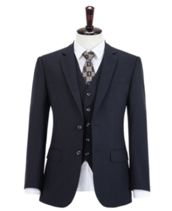 Worsted Wool Navy Pinstripe 3 Piece Suit