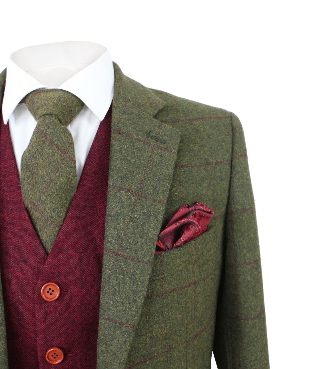 Olive Green Check Tweed 3 Piece Suit