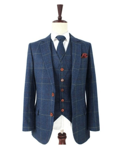 Retro Blue Check Tweed Jacket & Waistcoat Clearance