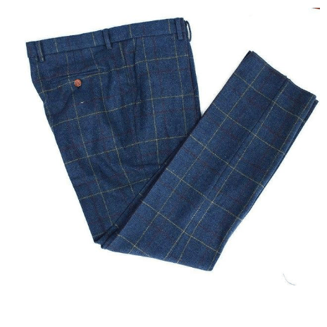 Retro Blue Check Tweed Trousers USA Clearance