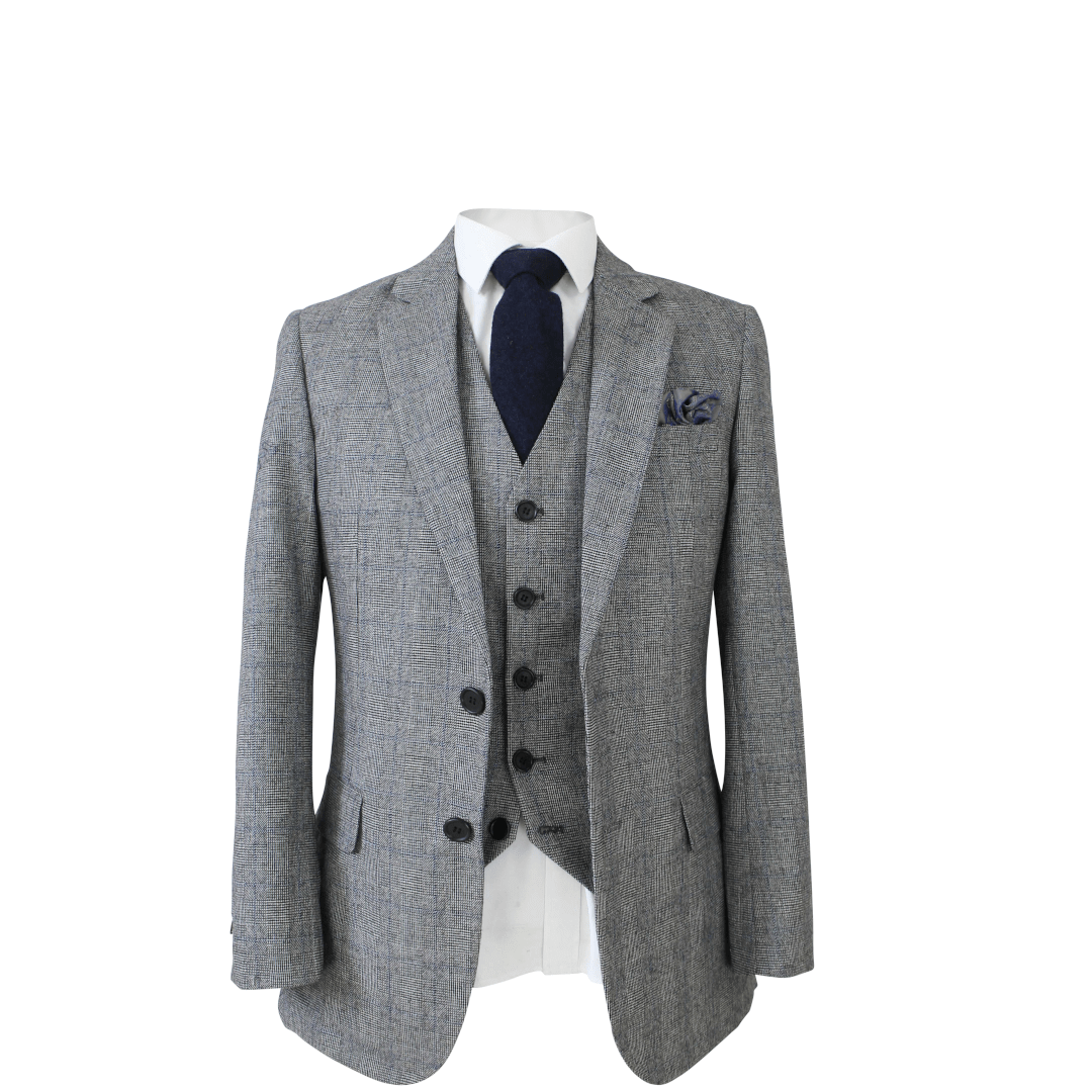 Retro Grey Wool 3 Piece Suit