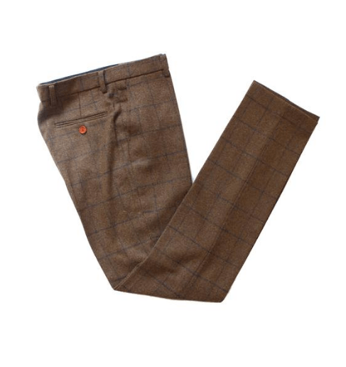 Brown Check Tweed Trousers USA Clearance
