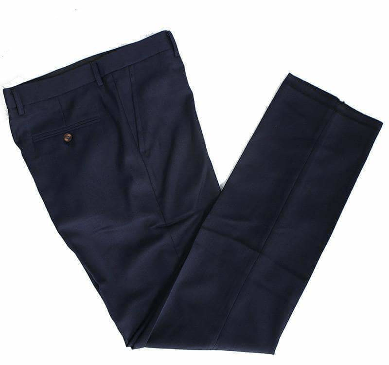 Worsted Wool Dark Blue Tweed Trousers Clearance