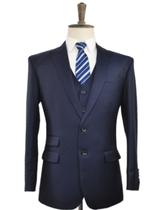 Worsted Wool Waistcoat Only (Navy)