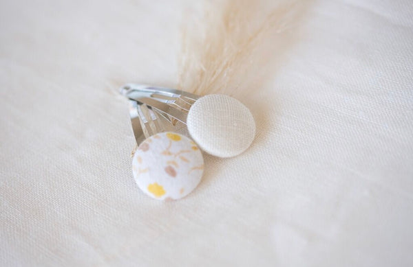 Button Bow Clip Set - Daisy