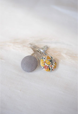 Button Bow Clip Set - Marigold