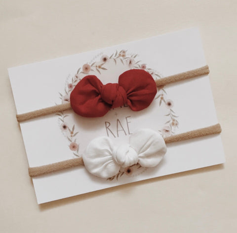 Red + White Bow Set