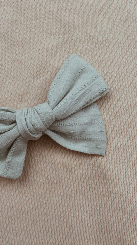 Seafoam Blue Embroidery Bow