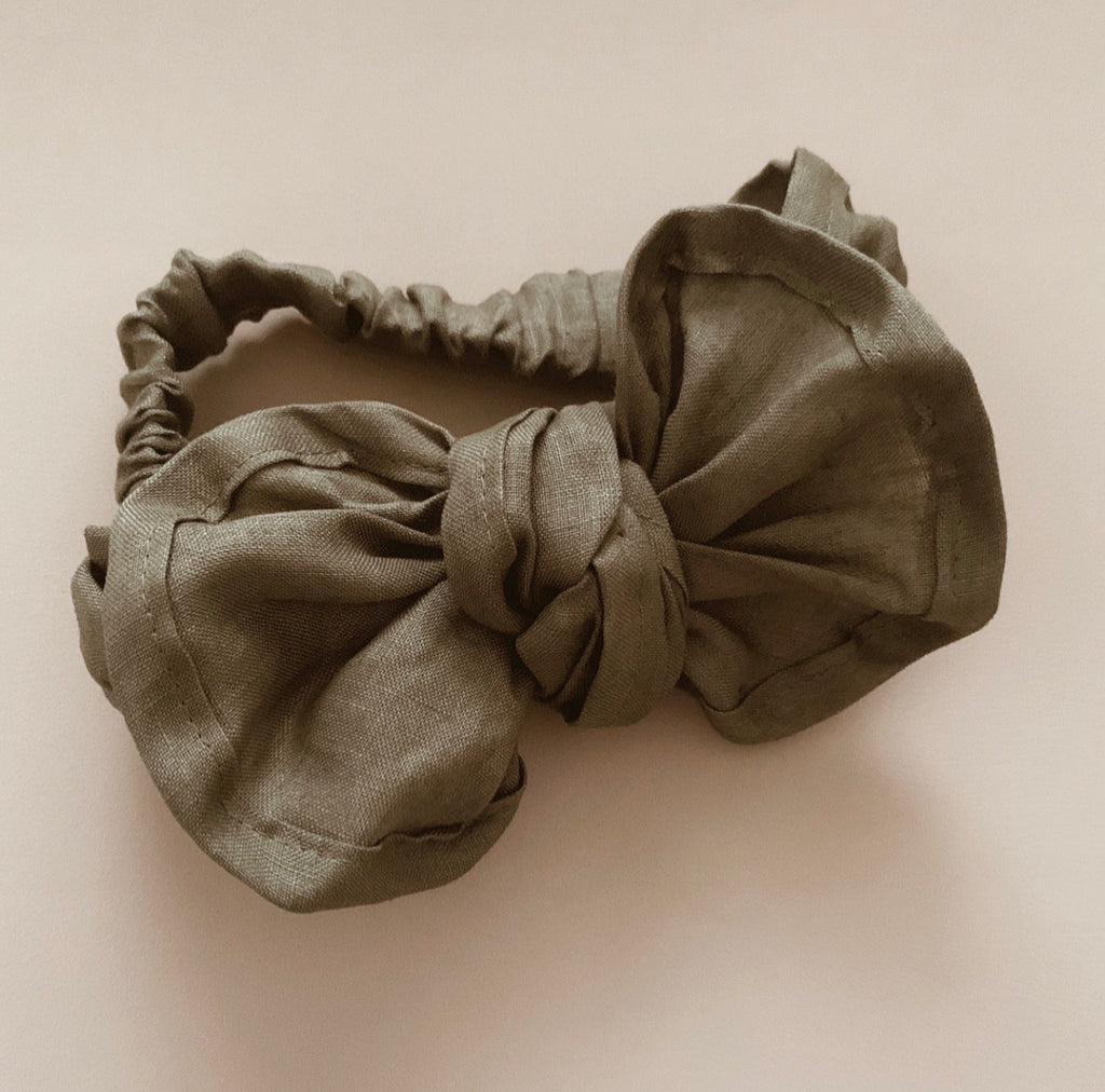 Olive Linen Fabric Topknot