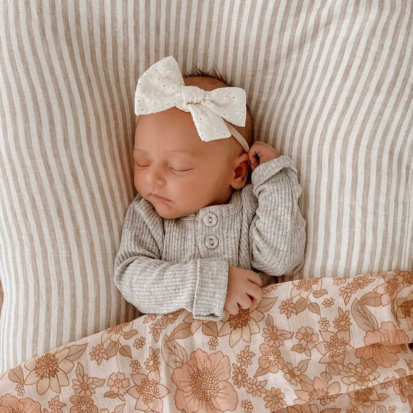 Cream Broderie Bow Headband