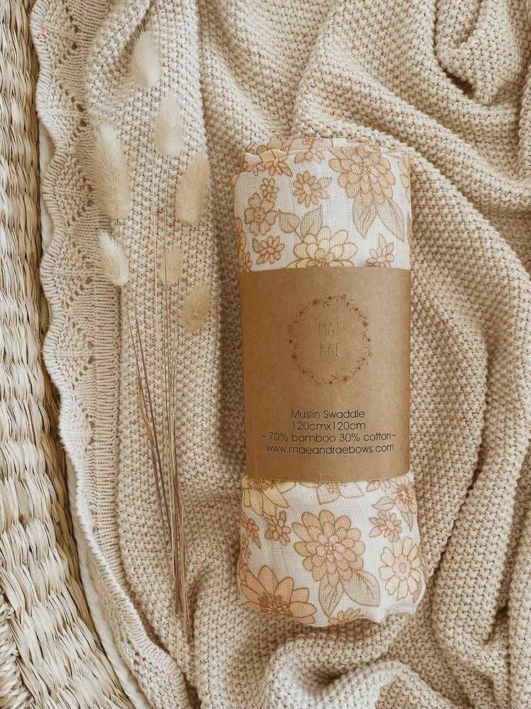 PRE ORDER - Peach Bloom Bamboo Swaddle