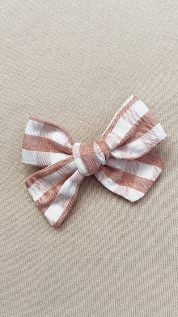Dusty Pink Gingham Bow