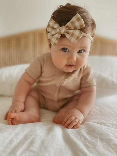 Caramel Gingham Bow