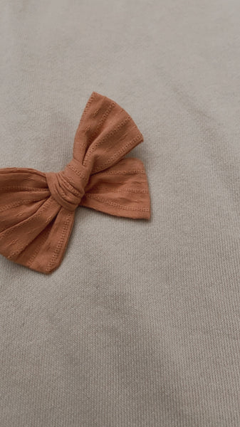Burnt Orange Embroidery Bow