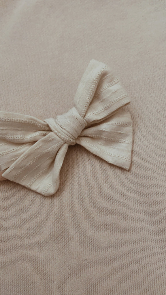 Cream Embroidery Bow