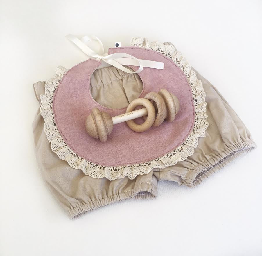 Dusty Pink Linen Bib + Bow Set