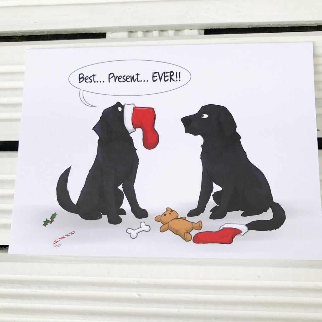 Best Present Ever Black Labrador Retriever Christmas Greetings Card ...