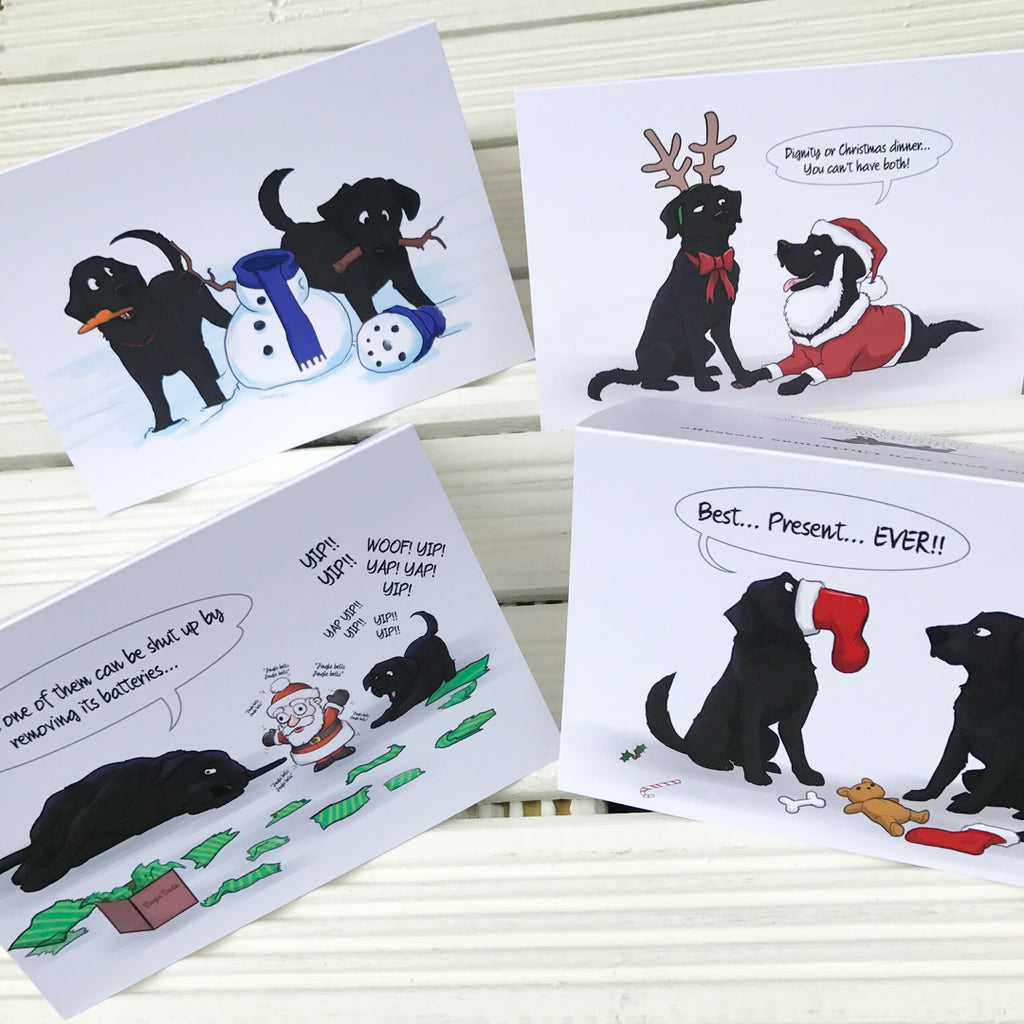 Exclusive Black Labrador Retriever Christmas Greetings Card Pack - 4 ...