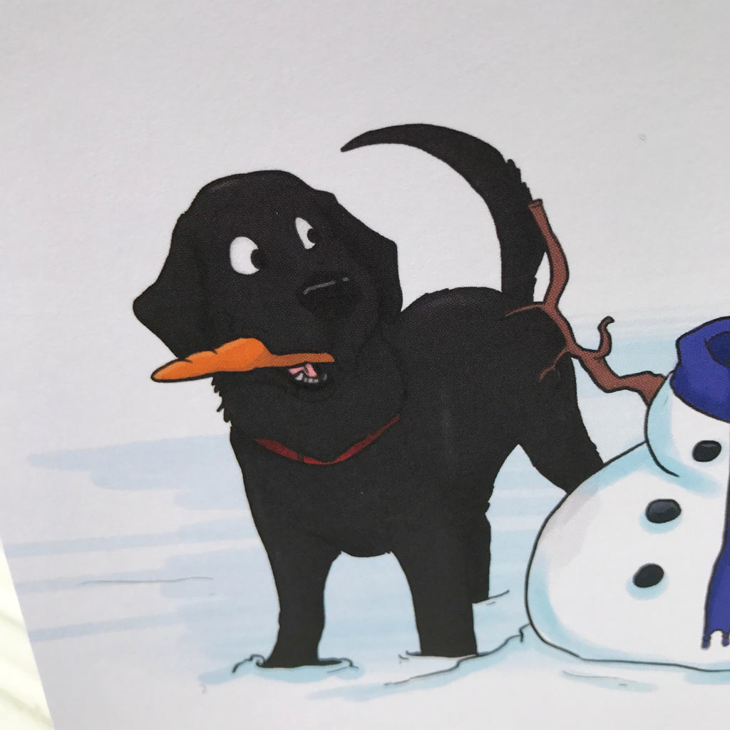 The Snowman Black Labrador Retriever Christmas Greetings Card ...