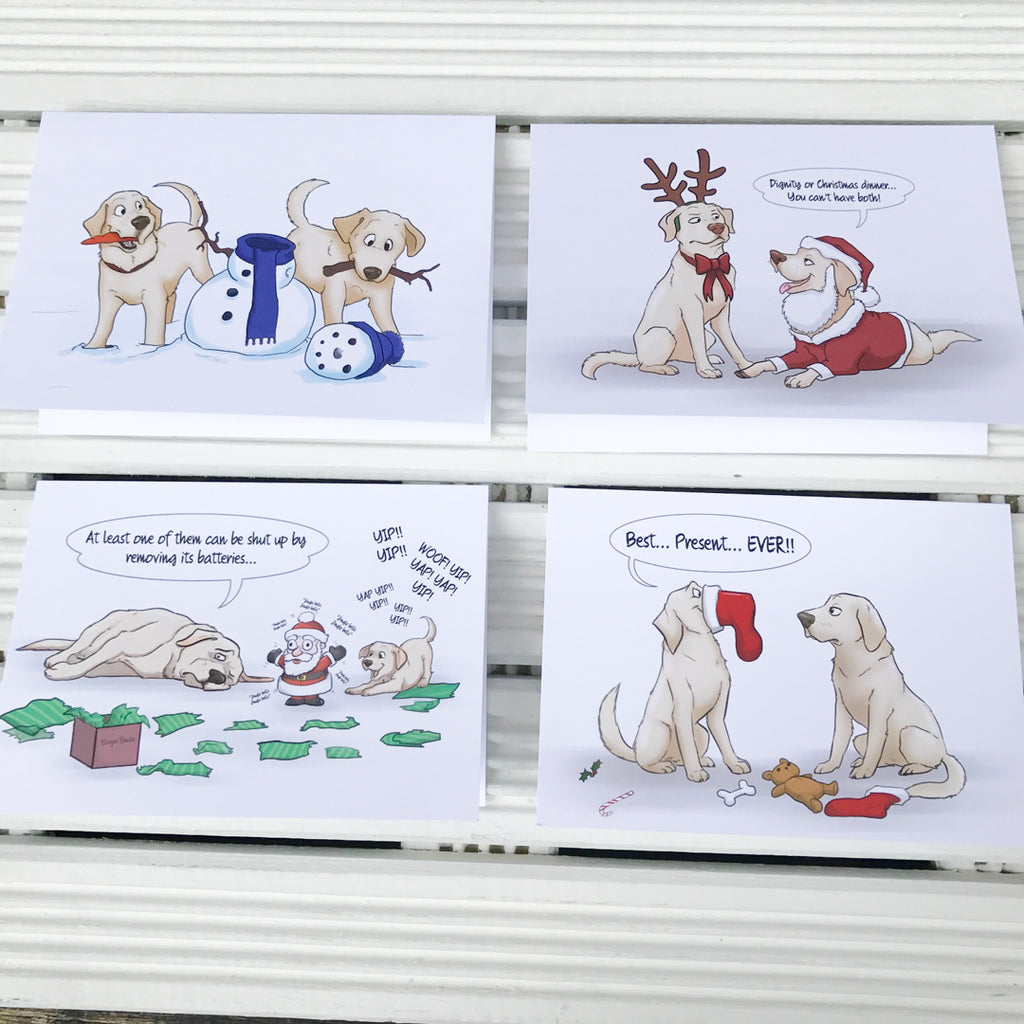 Exclusive Yellow Labrador Retriever Christmas Greetings Card Pack