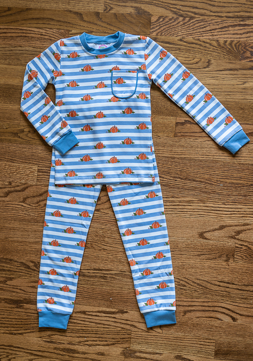 Boys Blue Striped Pumpkin 2pc PJ's