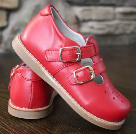 Red Double Buckle Shoes