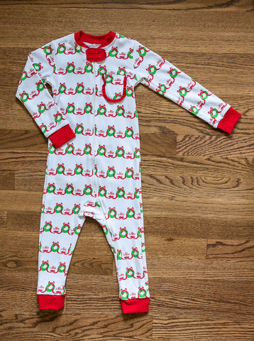 Merry Wreath Girls One Piece Pajama