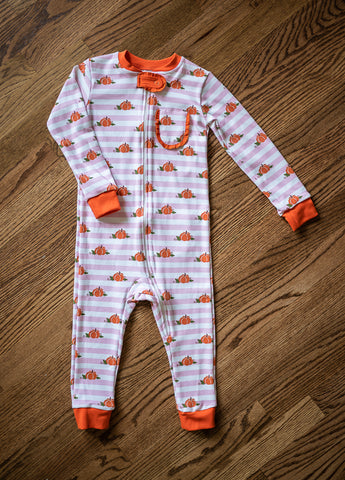 Girl's Pink Striped Pumpkin Zip PJ's