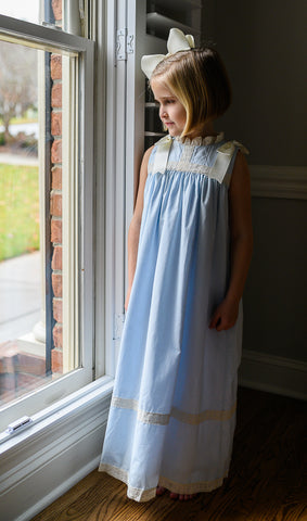 Cambridge Blue Sleeveless Heirloom Dress