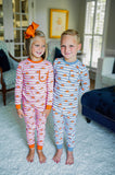 Boy's Blue Striped Pumpkin 2pc PJ's