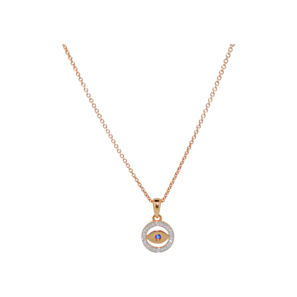 Evil Eyes Pendant Necklace in 14Karat Rose Gold
