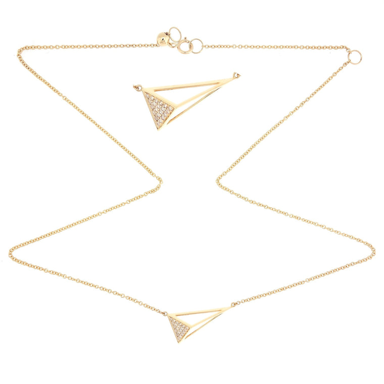 3D Triangle gold  Necklace/Choker with Diamonds in 18Karat Yellow Gold