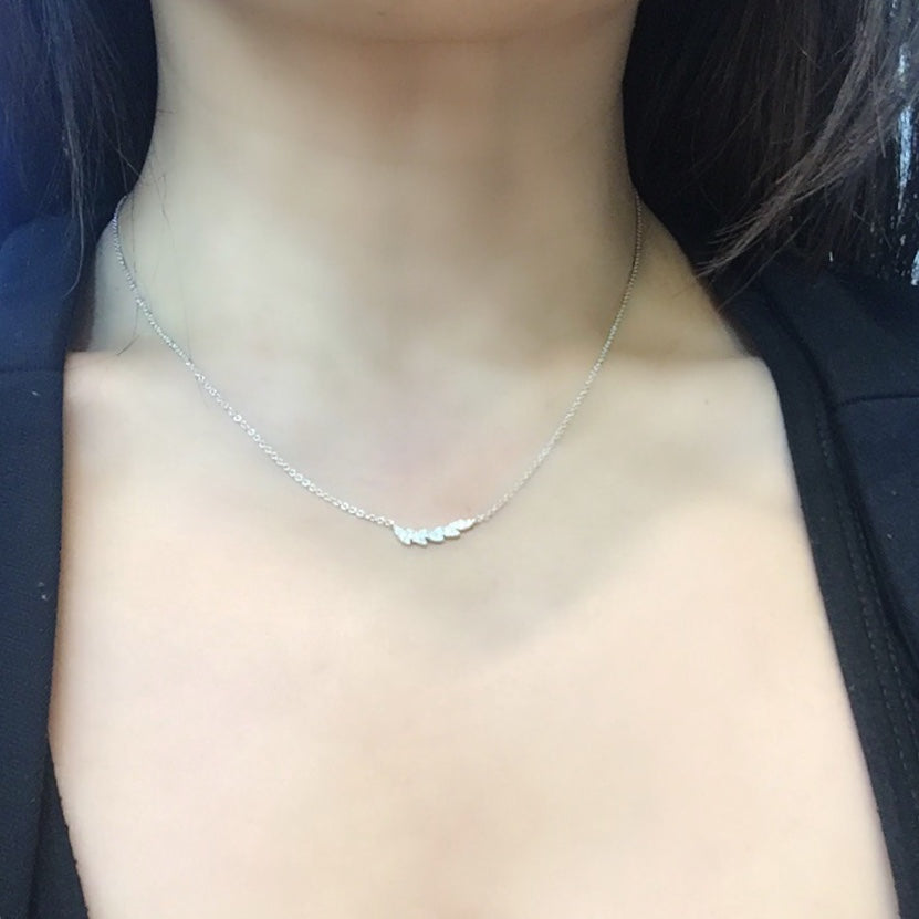 Tiny diamond leaf necklacechoker in 18karat white gold kura tiny diamond leaf necklacechoker in 18karat white gold mozeypictures Image collections