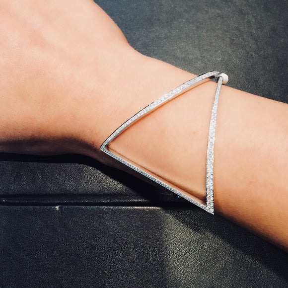 Triangle Statement Bangle in 18K White Gold